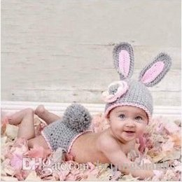 Wholesale Grey Bunny Hand Knitted Rabbit newborn handmade crochet Toddler infant baby boy prince Beanie suits photography props hats caps Costume outf