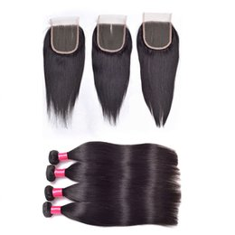 maylasian weft hair 2018 - 7A Malaysian straight Virgin Hair 4bundles With Lace Closures Middle Free 3 way Top closure and Maylasian Weft Hair Exte