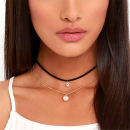 Handmade pearl crystal jewelry necklace online shopping - Gothic Layers Velvet Choker Necklace Women Imitation Pearl Pendant Necklace Fashion Handmade Retro Jewelry Collier Ras Du Cou