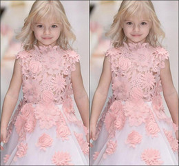 real cute girl princess dress Canada - Cute Girls Lace Princess Dresses 2017 3D-Floral-Applique Sleeveless Flower Girl Dresses Real Images White Organza Kids Party Dress