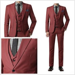 $enCountryForm.capitalKeyWord UK - Latest Slim Fit Groom Tuxedos Wine Red Wedding Suits for Men Groomsmen Tuxedos Men's Wedding suits (Jacket+Pants+vest) handsome
