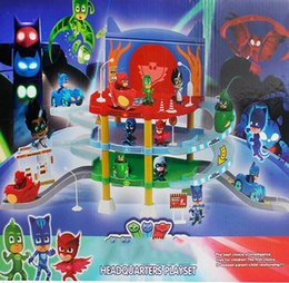 Discount cars toys track - 1 Set PJ Cartoon Masked Man+Car+Track Catboy Owlette Gekko Masked Action Figure Gift Toy for Party Free Shipping