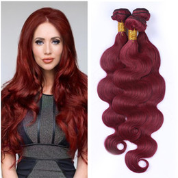 red wine remy hair extensions UK - Virgin Malaysian Wine Red Human Hair Bundles 3Pcs Body Wave #99J Burgundy Red Virgin Remy Human Hair Weaves Extensions Tangle Free