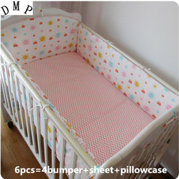 Bedding Sheeting Canada - Promotion! 6PCS Baby bedding kit crib bedding set piece baby bed around 100% cotton sheets ,(bumpers+sheet+pillow cover)