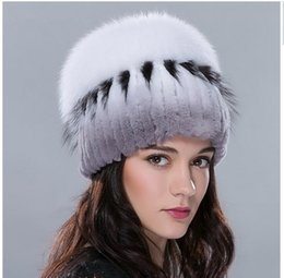 $enCountryForm.capitalKeyWord Australia - Russia fur hat for women winter rex rabbit fur hat with fox fur top female elastic knitted cap 2016 new fashion high-end beanies