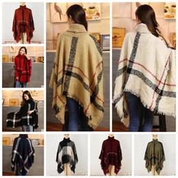 shawls ponchos cape coats 2019 - Plaid Poncho Scarf Women Tassel Fashion Wraps Vintage Knit Scarves Tartan Winter Cape Grid Shawl Cardigan Blankets Cloak