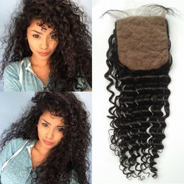 Discount three way part closure weave - G-EASY Indian Silk Base Closure Deep Wave Indian Virgin Human Hair weaves Silk Lace Top Closure Free Middle 3 Way Part