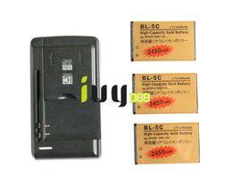 Discount batteries bl 5c - 3pcs 2450mAh BL-5C BL5C BL 5C Gold Replacement Battery + Universal USB Charger For Nokia 3650 1100 6230 6263 6555 1600 6
