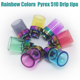 Glass dripper online shopping - Top Rainbow Glass Wide Bore Drip Tips Colorful Pyrex Stainless Steel Mouthpiece dripper tip RBA RDA Mods vapor Tank Atomizer Dripping