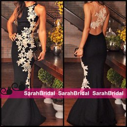 Barato Vestidos De Formatura Promocionais On-line-Sexy 2016 Black and White Lace Prom Dresses Party Evening Gown Appliques Sheer Back Mermaid Formal Wear Long vestido de festa Cheap Online