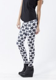Jambières Noires Et Noires Pas Cher-Femmes Polonais Leggings Géométriques Pantalons Noir et Blanc Printed Sky Espace Stretchy Breathe Noël Chaudes Jeggings Slim Collants
