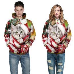 Dog Sweatshirt Hoodie Canada - Wholesale free shipping Men Women Hooded sweatshirts Print Animal Dog Pullover 3d Hoodies Christmas Hat Cat Sweatshirt Tops Clothes