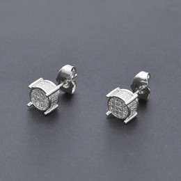 Discount ice screws - Hip Hop Iced Out Silver 3d Round Side CZ Simulated Lab Diamond Screw Back Stud Earring