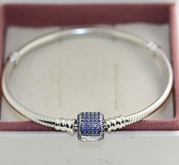 $enCountryForm.capitalKeyWord Canada - 925 Sterling Silver Moments Pave Clasp Bracelet with Blue CZ for European Style Charms and Beads