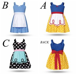 Costume Blanc De Neige Pour Bébé Pas Cher-Girl Alice robe Baby summer Lovely coton Tissu Cartoon Neige blanc polka Dot Princess dress up Costume d'enfants