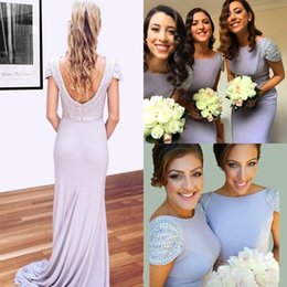 Yellow Sky Long Jersey Canada - 2016 New Design Jersey Mermaid Bridesmaid Dresses High Neck Beaded Cap Sleeves Backless Long Prom Dresses With Rhinestones Party Dresses