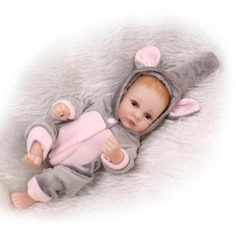 Discount mini full silicone baby doll - 2016 New 27CM mini Bebe Reborn Full Body Silicone Reborn Babies Gray Jumpsuit Boneca Toys for Girl Gift Juguetes Brinque
