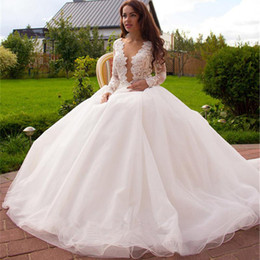 Western Long Sleeve Sexy Wedding Dresses Bridal Gowns Deep V Neck Unique Back Organza Dress Gown Affordable Simple
