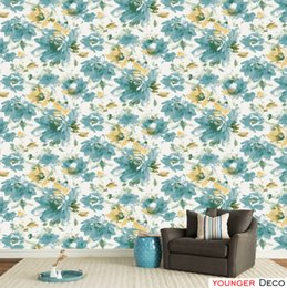 Wood Pvc Paper Rolls NZ - Wholesale Chinese style flower pattern design wallpaper countryside wall paper roll Decorative PVC Wall Paper For Living Room Bedroom