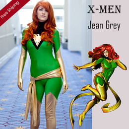 Costume Spandex Gris Pas Cher-Adulte X-Men Jean Grey Phoenix Costume Vert et Or Costume Lycra Brillant Zentai Halloween Party Superhero Cosplay
