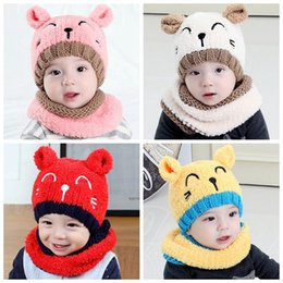 Knitting scarves for boys online shopping - Winter Baby Hat and Scarf Cute D Cat Crochet Knitted Caps for Infant Boys Girls Children Kids Neck Warmer