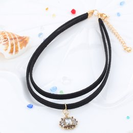 korea necklaces Canada - Korea velvet ribbon short necklace punk Lolita moon crystal pendant necklace short paragraph clavicle chain Ms.