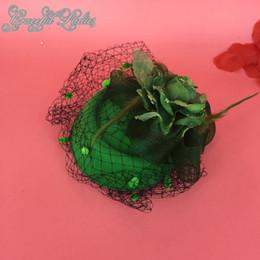 $enCountryForm.capitalKeyWord NZ - Green Flowers Bridal Hats With Mesh Veils Feather Flower Bow Fascinator Hats Wedding Hat Veils Wedding Bridal Birdcage Veil For Sale UK