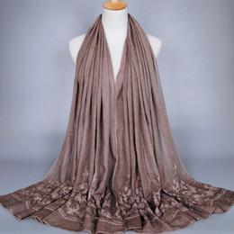 $enCountryForm.capitalKeyWord NZ - female plain embroidery flower cotton shawls muffler headband bohemian hijab solid color summer muslim scarves scarf