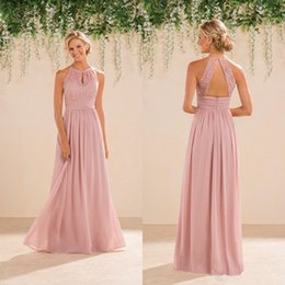 0e58f16cba5 New Jasmine Bridal Blush Pink Bridesmaid Dresses Country Style Halter Neck  Lace Chiffon Full Length Formal Prom Party Gowns Custom Made