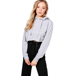 Mode Frauen Sweatshirts Casual Short Solid Grey Sweatshirt Freizeit Herbst Lace Up Langarm Pullover