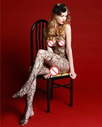 Barato Ver Através Do Bodystocking-Mulheres Sexy Sexy Backless Mesh Snakeskin Fishnet Halter Sem mangas Crotch aberto See Through Body Stocking One Piece Bodystocking Lingerie