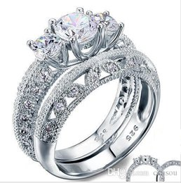 Victorian Art Canada - Vintage Style Victorian Art Deco 1.5 Ct Created Diamond Solid Sterling 925 Silver 2-Pcs Wedding Engagement Ring Set