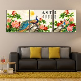 bird pictures print Canada - Free Shipping 3 Pieces unframed Canvas Prints peacock peony crane mountain Bamboo Elephant family rose Cartoon rose bird potted flower fish
