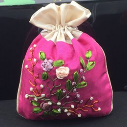 $enCountryForm.capitalKeyWord NZ - Handmade Ribbon Embroidery Large Gift Bags Patchwork Jewellery Pouches Drawstring Satin Cosmetic Packaging Lavender perfume Storage bag