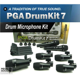 Discount free drum kits Sale Top Quality PGA DrumKit7 Seven Piece Dynamic Wired Microphone kit For Drum PGA52 x 1 PGA56 x 4 PGA57 x 2 Free Mikra