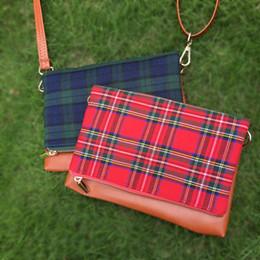 $enCountryForm.capitalKeyWord Canada - Wholesale Blanks Plaid Canvas with PU Faux Leather Material Clutch Fold Over Messenger Bag Shoulder Crossbody Clutch DOM103397