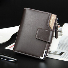 Mens Wallets Coin Purse Canada - Men Short Wallets Balck Brown Bifold Wallet Mens Brand Genuine Real Leather Card holder Coins With Zipper Wallet Purses Pockets
