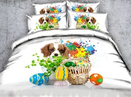$enCountryForm.capitalKeyWord Australia - Fashion Design Colourful Eggs Dog 3D Printed Fabric Cotton Bedding Sets Twin Full Queen King Size Dovet Cover Pillow Shams Comforter Animal