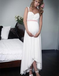 $enCountryForm.capitalKeyWord Canada - New Elegant Pregnant Wedding Dress Spaghetti Straps Pink Sash Chiffon High Low Matertiny Bridal Gown vestido de noiva Custom Size