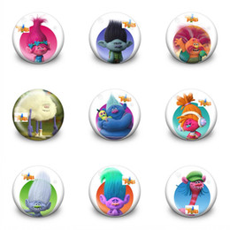 Discount kids plastic bags - 9pcs+ Trolls Poppy High Quality Pins Badges Cartoon 3.0CM Round Brooches Fashion Accessory Buttons Bags Hats Decor Kid G