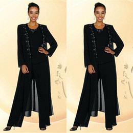 $enCountryForm.capitalKeyWord Canada - Newest Balck Beads Mother Of the Bride Groom Pants Suits With Long Sleeves Jacket Fashion Summer Custom Vintage Evening Mother Gowns EN90510