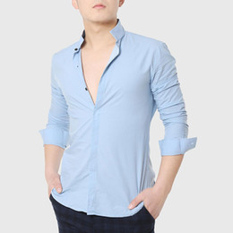 Chemises Blanches Pas Cher-Gros-Men Dress Formal Shirts Mandarin Collar Skinny shirt Designer long d'affaires manches coton uni social Blanc Gentleman Rose Porter