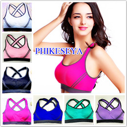 Sujetador Deportivo Acolchado Baratos-Sexy Women Multicolors Top acolchado Active U-Neck Bloque de color Criss-Cross Gym Wear Top crop Fitness Running YOGO Sport Bra para mujer