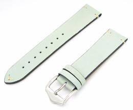 Lit Band NZ - 20 22mm Men Women Genuine Suede Leather Light Green Aqua Mint Special Watch Band Strap Belt Silver Polish Pin Buckle Best Gift