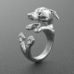Animal Rings Jewelry Canada - Free shipping wholesale retro Italy Greyhound Ring free size hippie animal Greyhound dog Ring jewelry for pet lovers