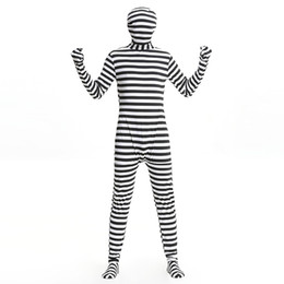 Black White Striped Clothing Canada - Free shipping 2016 new muscle man stealth prisoners black and white striped stage costume role play clothing