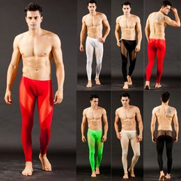 See Underwear Through Pants Canada - Wholesale-Men Long johns See Through Mesh Low Rise Thermal Pants Underwear Trousers S M L WZ20