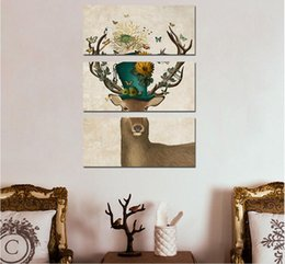 $enCountryForm.capitalKeyWord Canada - Art 3pcs Animal Children Living Room kid Decoration Flower deer antlers Canvas printed Painting wall Hanging home decor unframed