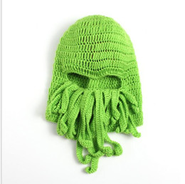 China Unisex Octopus Beanie Squid Caps men Tentacle Knitted Wool Ski Face Mask Hats Sea Monster Crochet Beanie Cthulhu Octopus Caps Halloween mask supplier wholesale octopus mask suppliers