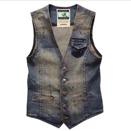 China Fall-Plus Size Men's Denim Vest Brand Jeans Men Cowboy Vintage Casual Sleeveless Holes Personalized Cardigan Men Jacket&Overcoat 3XL supplier denim sleeveless cardigan suppliers
